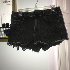 Black shorts with lace detailing